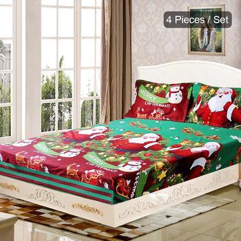 New 4pcs/set Christmas Santa Bedding Set Micro Fiber 3D Printed Fitted Bed Sheet Pillowcase Bed Sheet Set Christmas Bedroom Deco