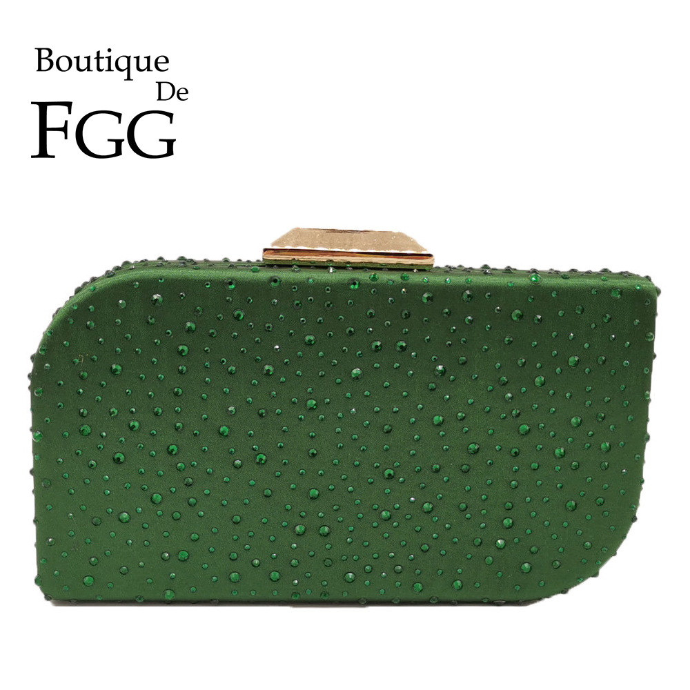 Boutique De FGG Irregular Shape Green Women Crystal Evening Clutch Bags Bridal Diamond Handbags Wedding Party Cocktail Purses