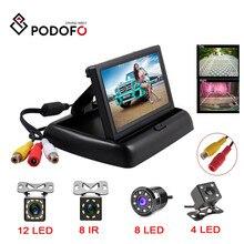 Podofo 4.3 cala HD składany Monitor z widokiem z tyłu samochodu cofania LCD wyświetlacz TFT z Night Vision Backup kamera cofania dla pojazdu