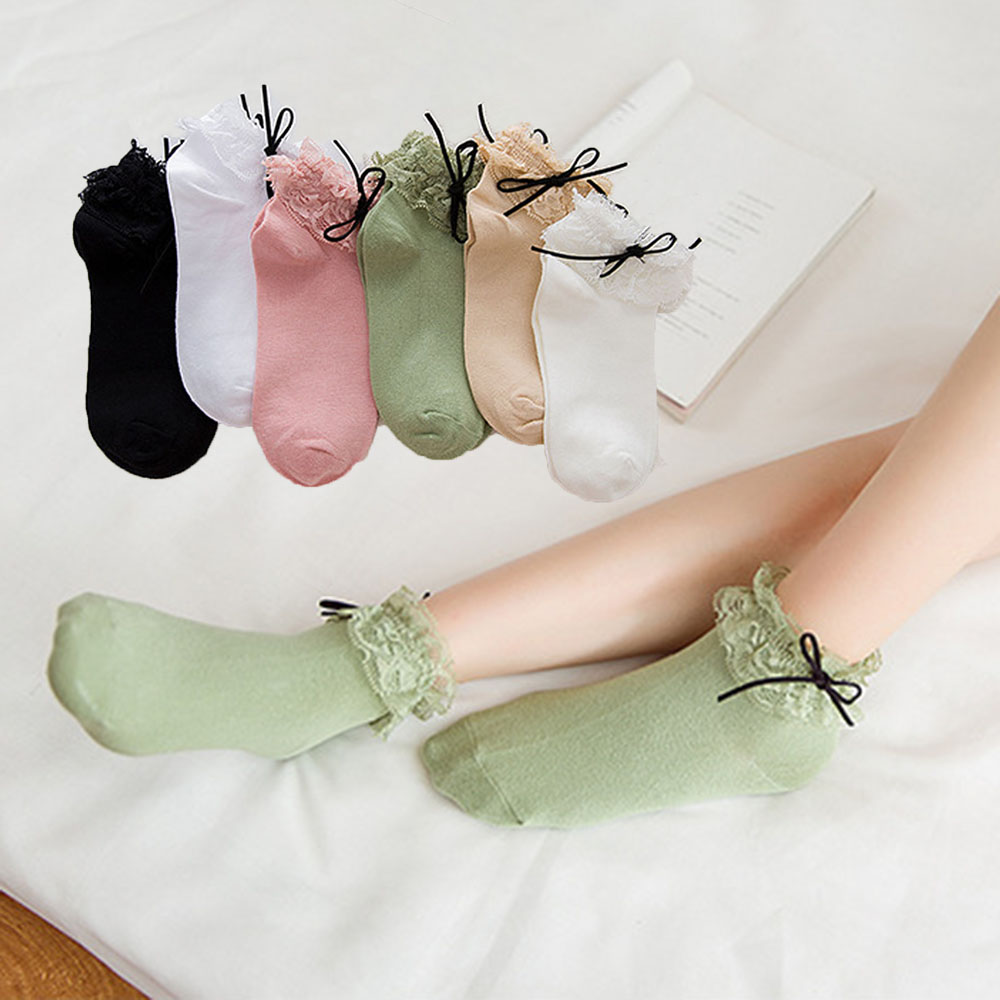 2019 Lovely Lolita Cute White Ankle Socks Women Socks Cotton Vintage Bow Knot Lace Ruffle Frilly Lady Princess Girl