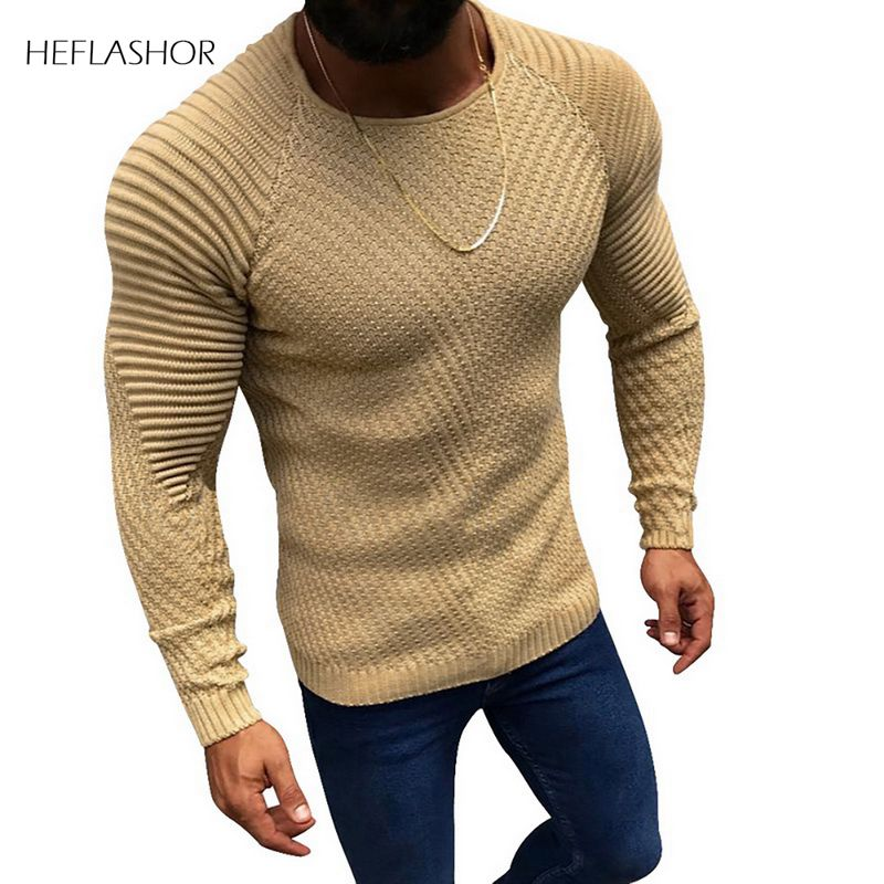 SHUJIN Men Fashion Knitted Pullover Male Solid Color O-neck Striped Long Sleeve Sweater Spring Winter Slim Fit Casual Sweater