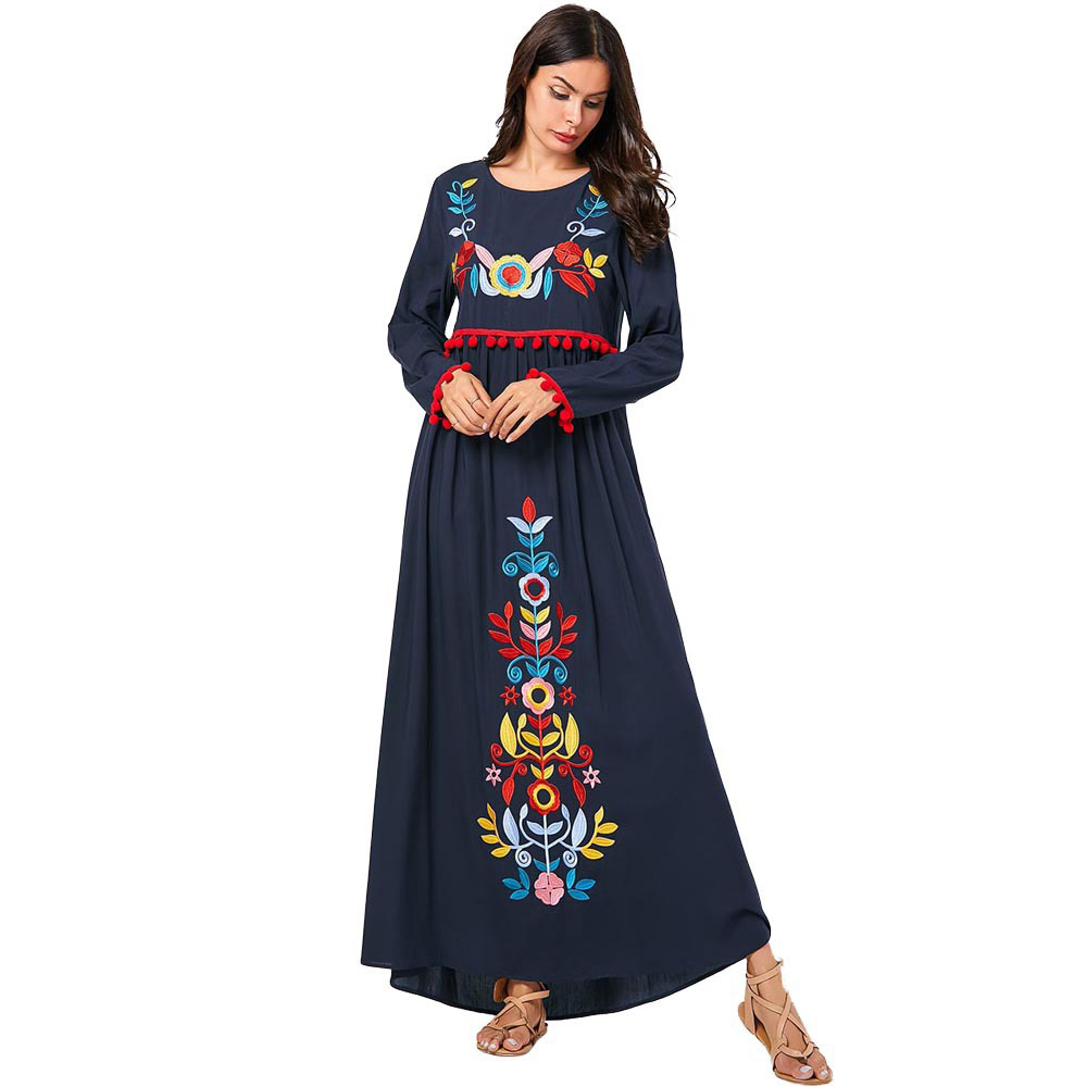 Turkey Arab Muslim Abaya Dress Women Kimono Moroccan Kaftan Elbise Embroidery Maxi Hijab Dresses Islamic Clothing Vestidos 2020 image