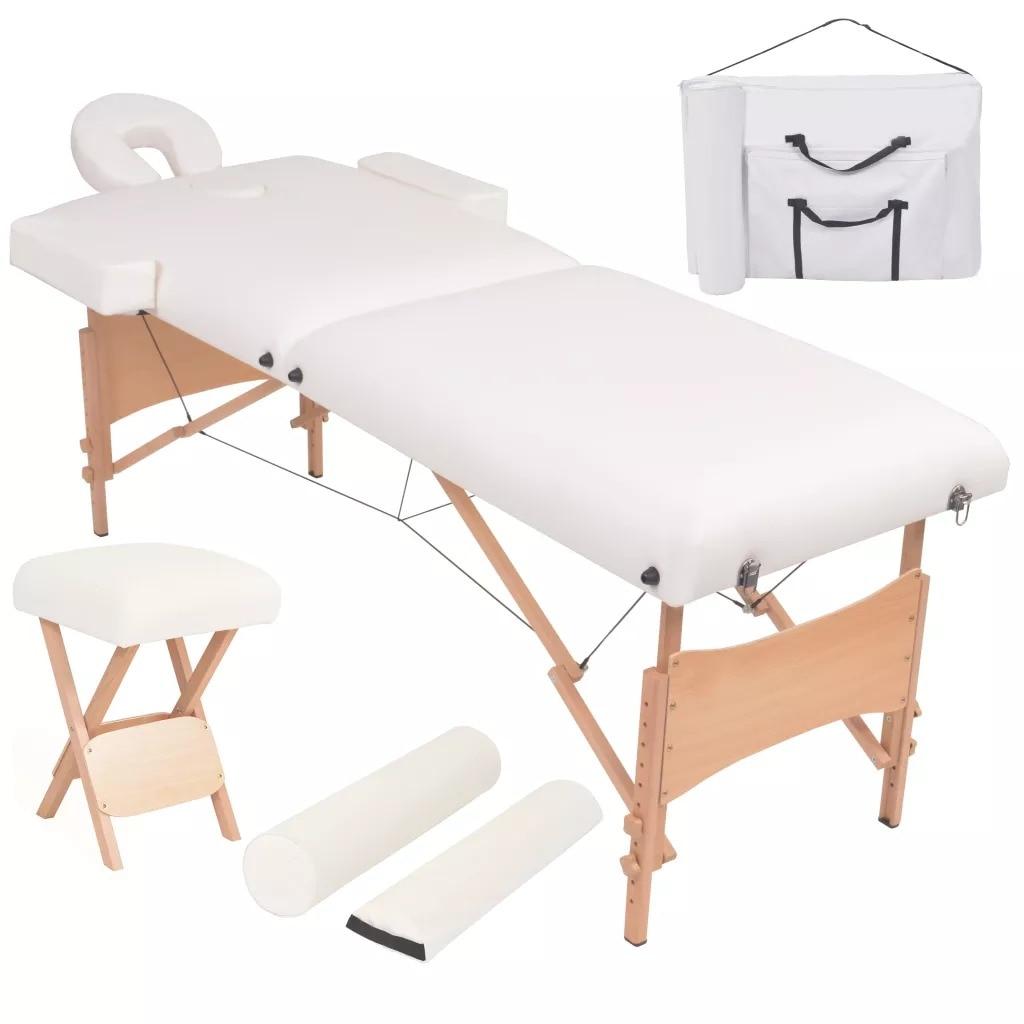 vidaXL Folding Massage Table And Massage Stool Beauty Salon Set 10 Cm Thick Comfortable Salon Furniture Massage Bed