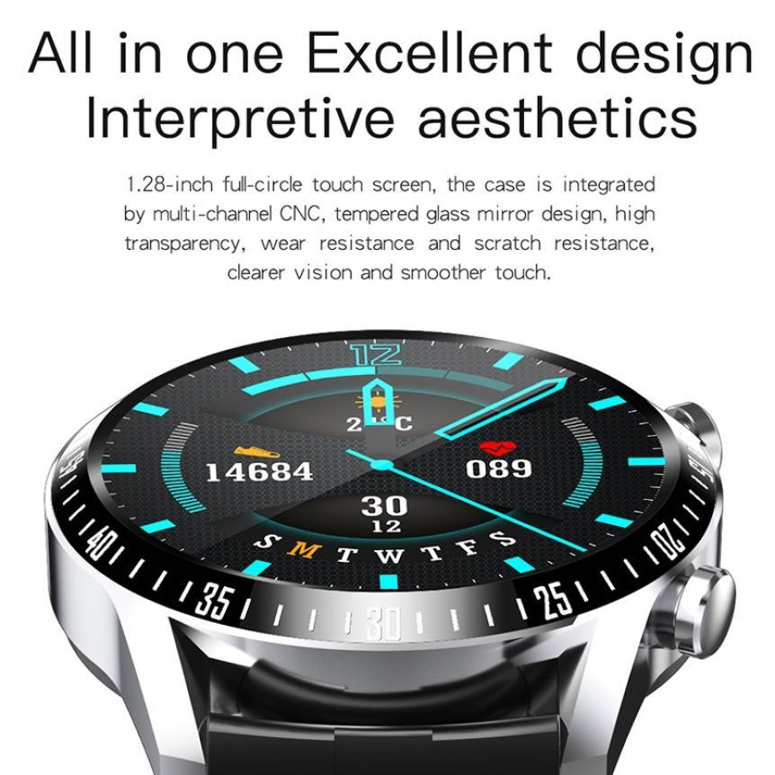 CAH20072902O_CK29 Round Thin 1.28 Screen Smart Watch Bluetooth Touch Waterproof IP67 Smart Band Call Temperature Multi-dials Smart Bracelet (4)