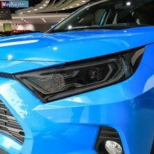 2 pçs carro farol película protetora de vinil proteção transparente preto tpu adesivo para toyota rav4 xa50 2019 2020 acessórios