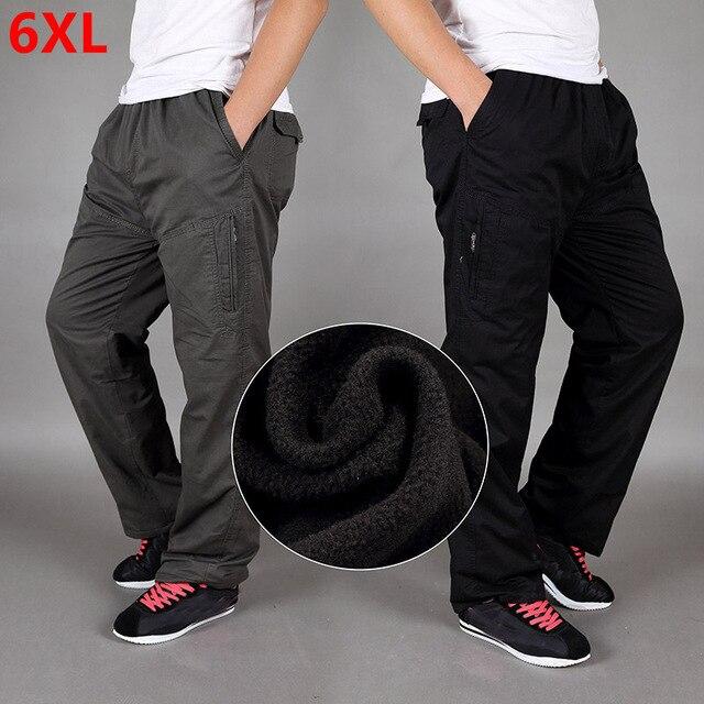 Зимние Бархатные утепленные штаны, хлопковые свободные прямые штаны большого размера со множеством карманов для инструментов