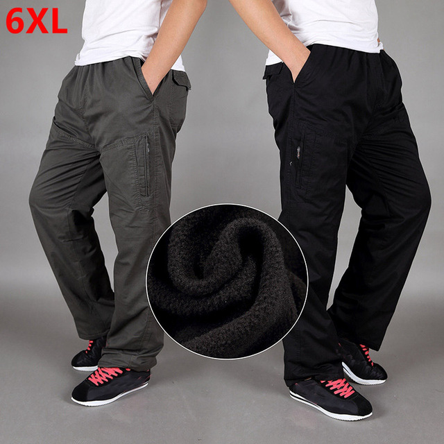 Pantalones gruesos de terciopelo para invierno, algodón, holgados, de gran tamaño, rectos, con múltiples bolsillos, para herramientas