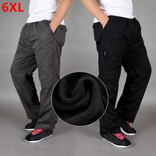 Winter plus velvet thickening  pants cotton loose large size straight multi pocket tooling trousers