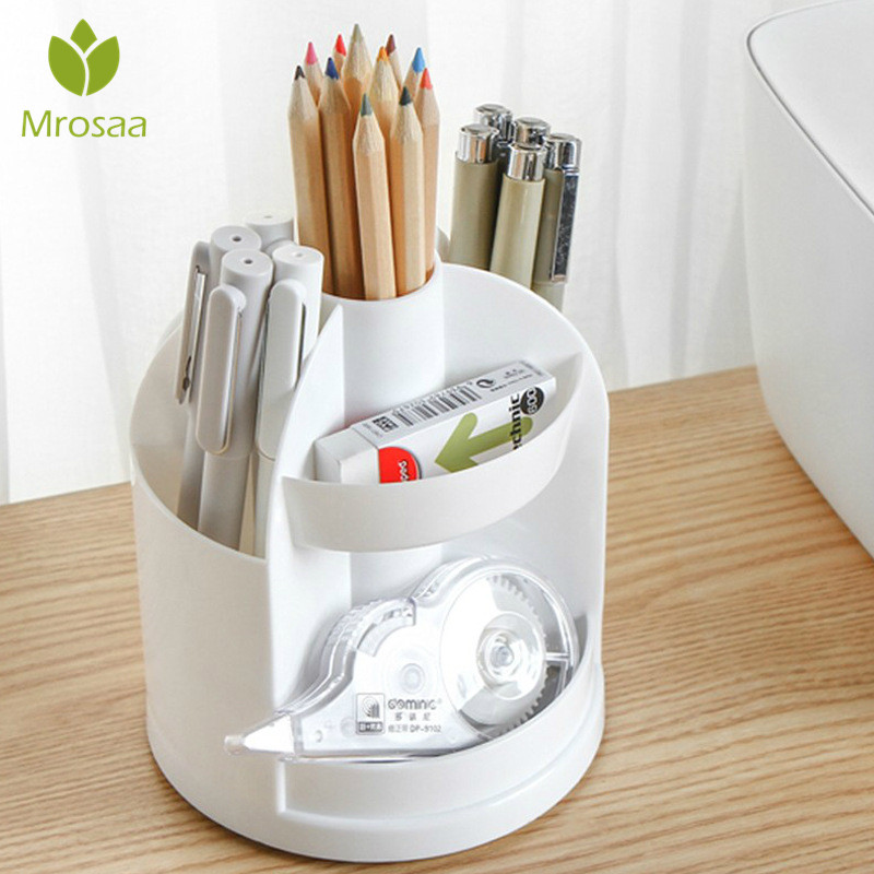 Multi-function 7 Grids Office Desktop Rotating Pen Holder Stationery Storage Box Pencil Case Desk Organizer Office Supplies