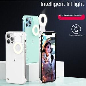 Image 1 - ل فون 12 11 حلقة ضوء حالة مع فلاش Led ملء ضوء ل بالرصاص الأزياء Selfie حالة ل IPhone11 12 برو ماكس Xs Xr Ringlight