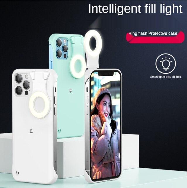 ل فون 12 11 حلقة ضوء حالة مع فلاش Led ملء ضوء ل بالرصاص الأزياء Selfie حالة ل IPhone11 12 برو ماكس Xs Xr Ringlight