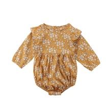 Recién Nacido niña mono retro manga larga cómodo floral volantes dulce mono 0-3 y ropa para niña