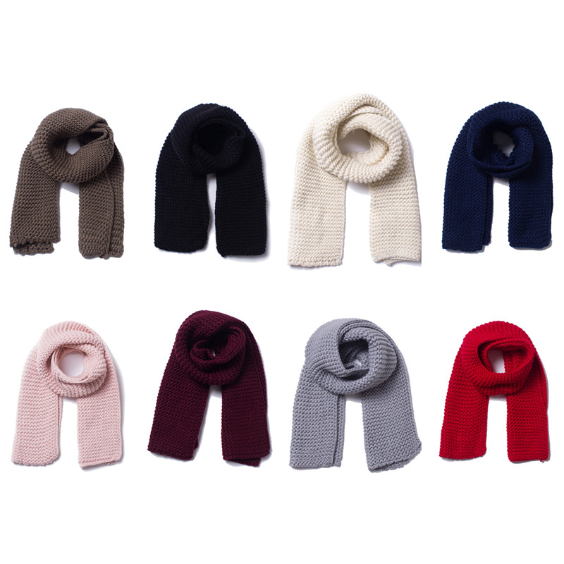 Autumn Winter Women Large Scarf Solid Color Long Wool Yarn Thickened Warm Shawls 2019 New Handmade Knitted Scarves Poncho 180 30 in Women 39 s Scarves from Apparel Accessories
