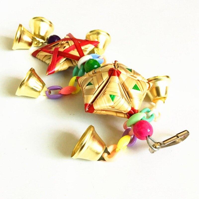 Loro juguetes colgantes campana Juguetes Para loros pájaro ardilla cadena divertida columpio juguete para mascotas pájaro suministros hierba Natural juguete tejido - 5