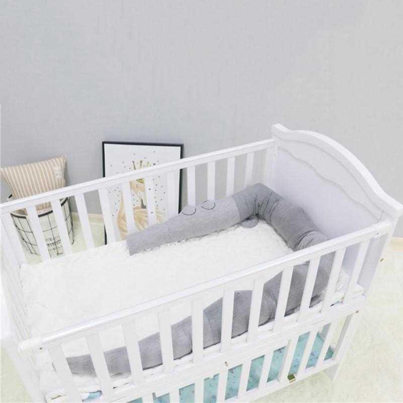 185Cm cuna recién nacida parachoques niños cocodrilo almohada cuna con parachoques valla almohadilla de algodón para niños habitación ropa de cama Decoración