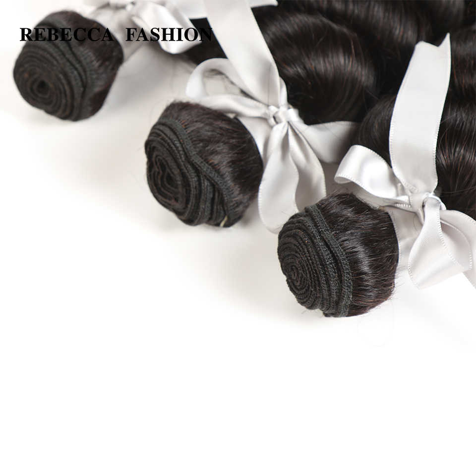 Rebecca Remy Loose Wave Brazilian Human Hair 3 Bundles With Closure 4x4 Brazilian Loose Wave With Lace Closure
