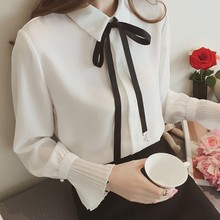 Women Shirts Korean Lady Flared sleeve bow tie chiffon shirt Office Elegant Blouse Casual Top