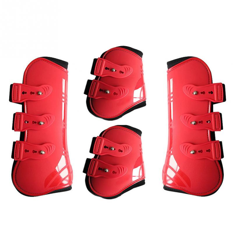 Practical Riding Front Hind Horse Leg Boots Protection Wrap PU Leather Equestrian Training Guard Durable Outdoor Riding