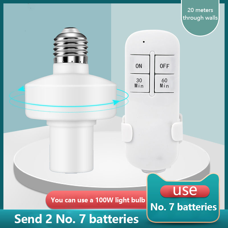 E27 Smart Light Bulb Adapter Lamp <font><b>Holder</b></font> Base <font><b>AC</b></font> Smart Life Wireless Voice Control with 20m <font><b>Remote</b></font> Distance 85V-250V Dropship image