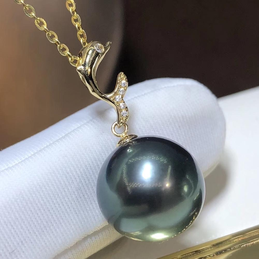 D420 Pearl Pendant Fine Jewelry Solid 18K Gold Round 11-12mm Ocean Sea Water Tahiti Black Pearls Pendants Necklaces for Women