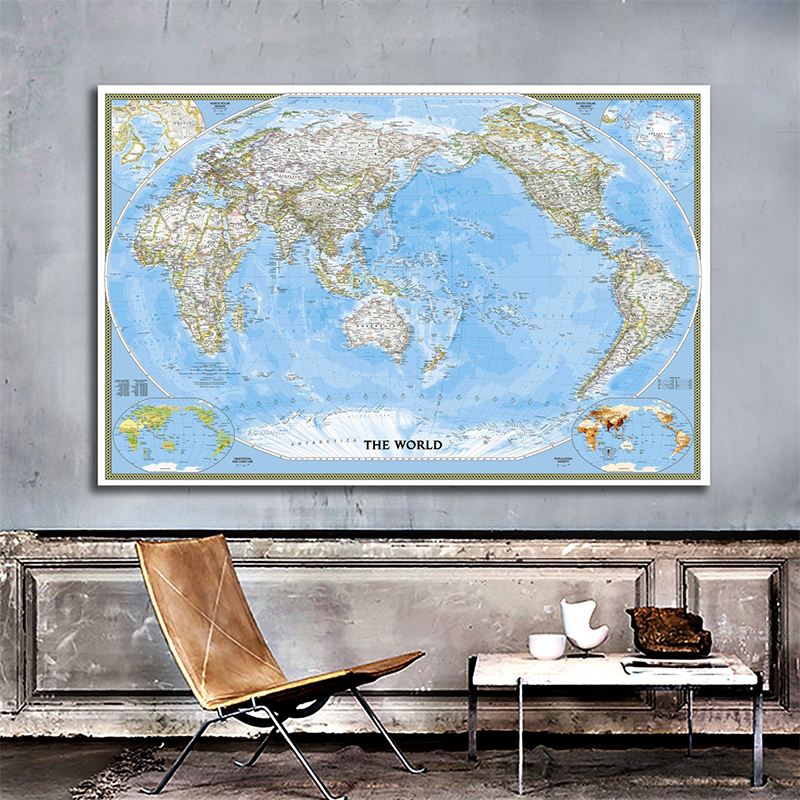 Non-woven World Map Mercator Projection World Map Without Flag HD World Map Non-woven Spray Painting For Culture And Education