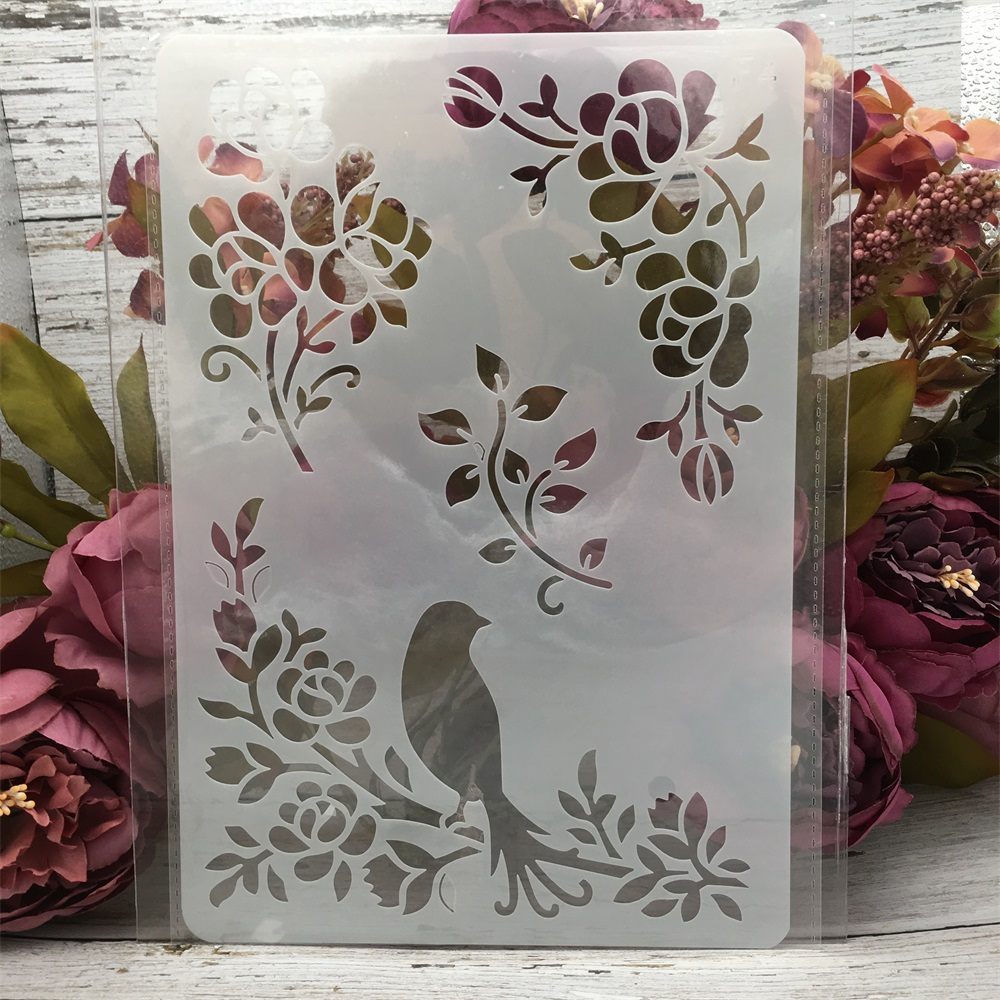 1Pcs 26*17cm Bird On Tree DIY Layering Stencils Wall Painting Scrapbook Coloring Embossing Album Decorative Card Template