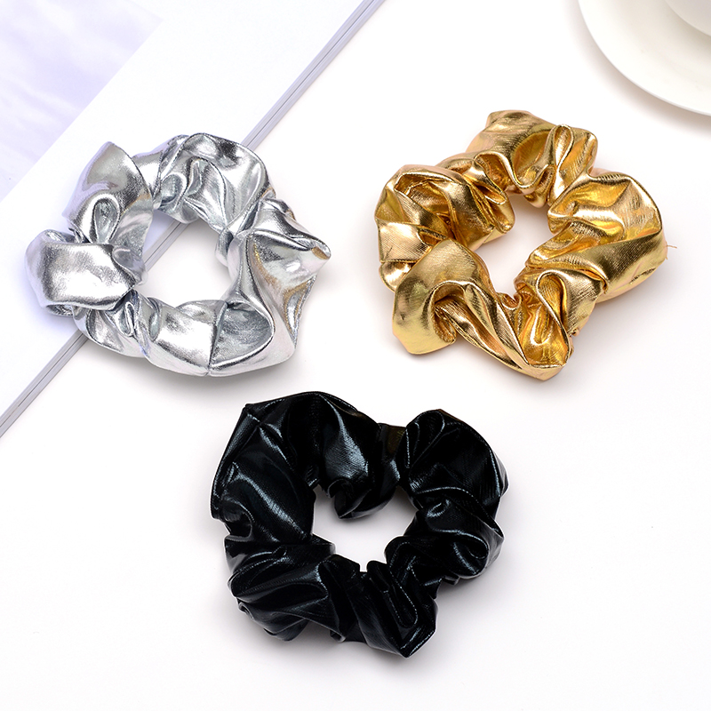 Fashion Women Scrunchie Hair Ties Gold Silver Black Color Elastic Hair Bands for Women Hair Accessories   Headwear   Hair Holders