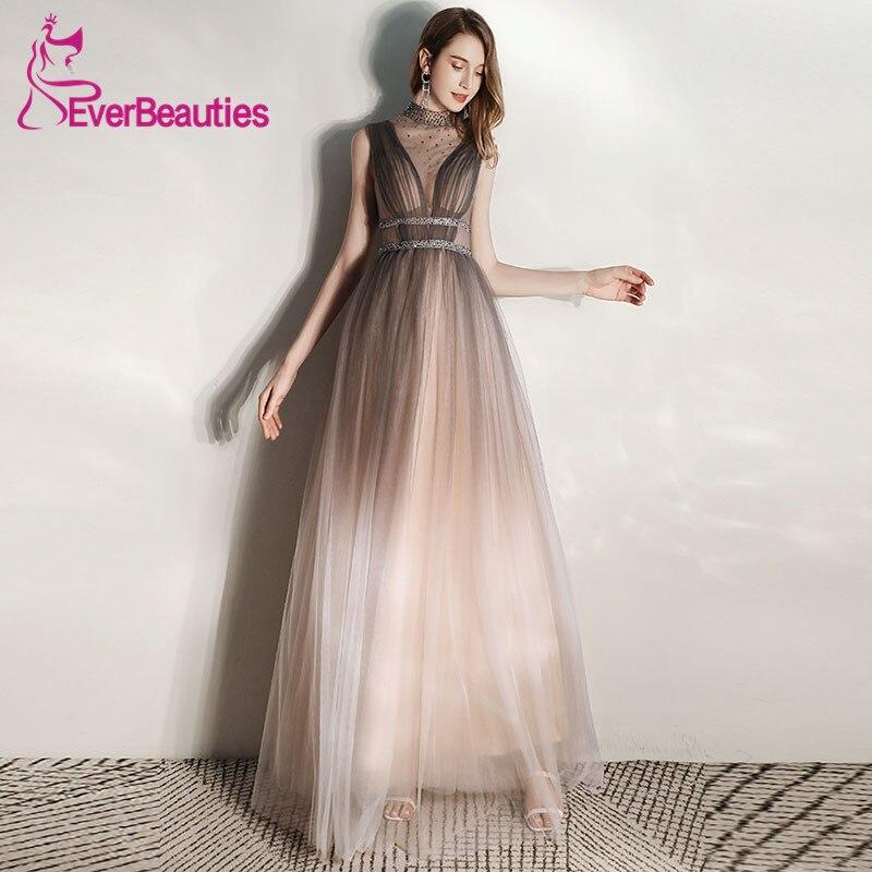 Vestidos De Gala Tulle   Prom     Dresses   Long 2020 Halter Neck Long Formal Gowns Elegant Robe De Soiree Vestido Formatura