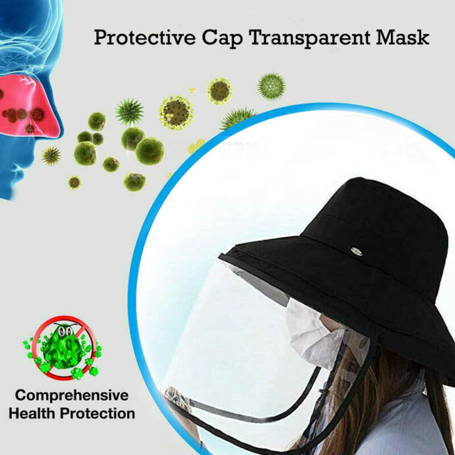 Anti Spitting Saliva Drool Fisherman Cap Dual-use Sun Hat Protective Face Shield Cover Hat with Detachable Clear Facial Mask 1