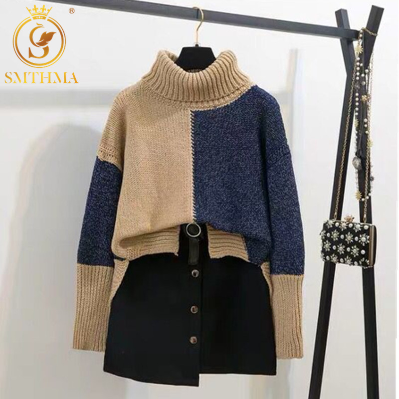 SMTHMA Autumn Winter Patchwork Knitted Pullover +Black Skirt 2pcs Sets  Long Sleeve Sweater + Mini Skirt 2 Piece Sets Free Belt