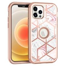 جراب هاتف مقاوم للصدمات لهاتف iPhone ، جراب هاتف مقاوم للصدمات مطلي بالرخام لهاتف iPhone 12 11Pro Max XR XS Max X 7 8 Plus 12Mini SE 2020 2 في 1