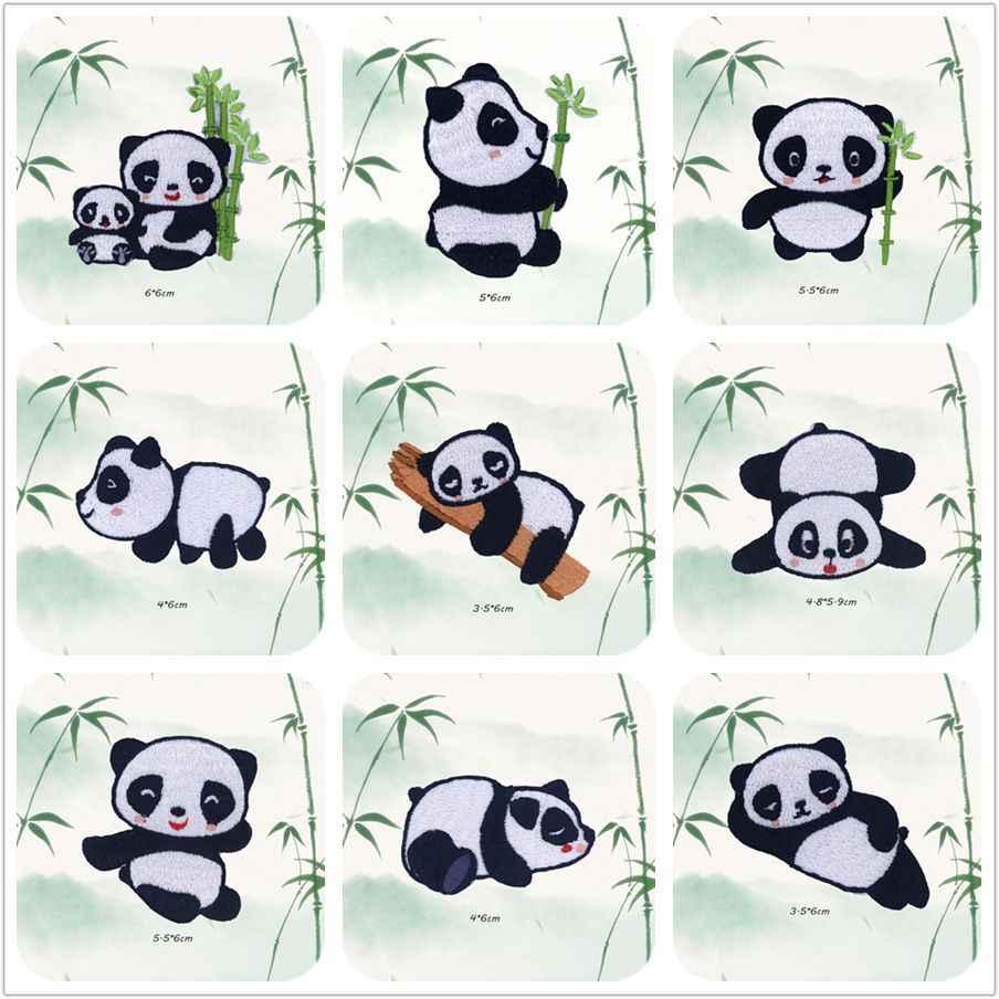 Cute Panda Cat Toppe E Stemmi Del Ricamo di Ferro Sulla Patch per Strisce di Abbigliamento Fai da Te Adesivi Cucire Sui Vestiti Giacca di Jeans Animali Appliques