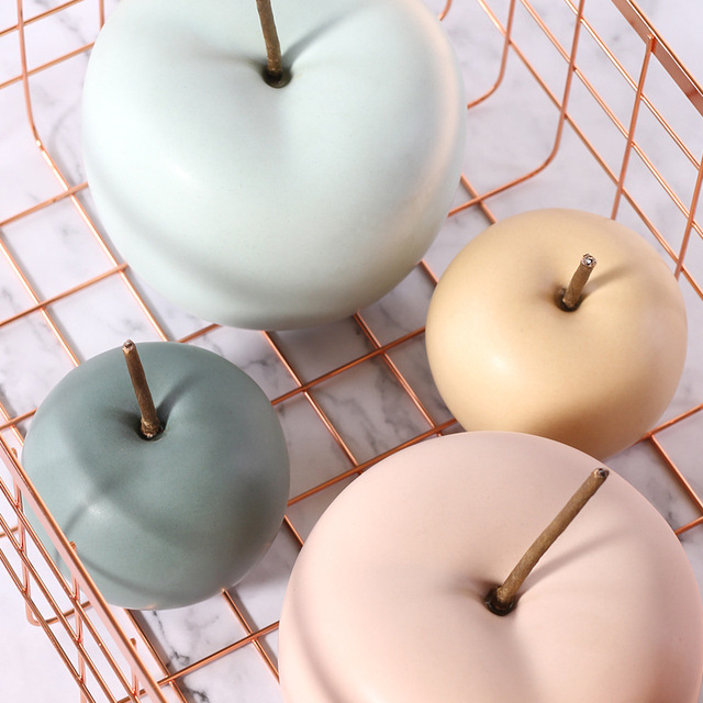 Modern Macaron Home Decor Ceramic Apple Figurines Fruit Arts & Crafts Home Decoration Accessories Sweet Tabletop Ceramic Statues 5