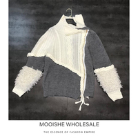 2019 New Winter Sweater Sheep Sheep Fur Sleeve Knit Zipper Twist High Collar Knit Sweater Female Tide