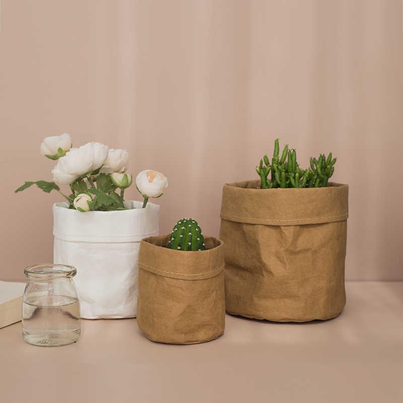 Gratis Pengiriman Kraft Kertas Pot Bunga mantel Kantor Desktop Kreatif Tanaman Tas penyimpanan Kosmetik casing Rumah Dekorasi Aksesoris