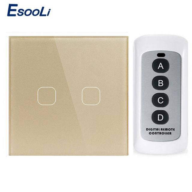 Esooli EU/UK Standard 1/2 Gang Wireless Remote <font><b>Control</b></font> Light Touch Switches, Smart Home <font><b>RF433</b></font> Remote <font><b>Control</b></font> Wall Switch image