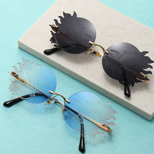 Round Sunglasses Driver-Goggles Polygonal Rimless Women Ladies Funny Smiley Moon
