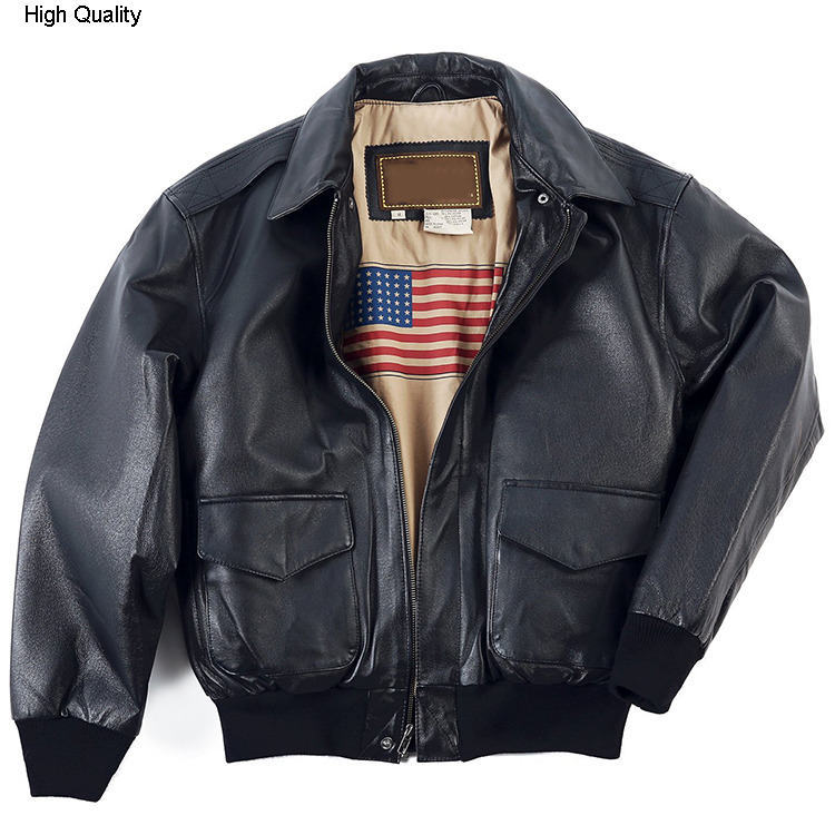 Men's Real Genuine Leather Jacket Men Motorcycle Sheepskin Bomber Leather Coat Air Force Flight Jackets Padding Cotton Warm
