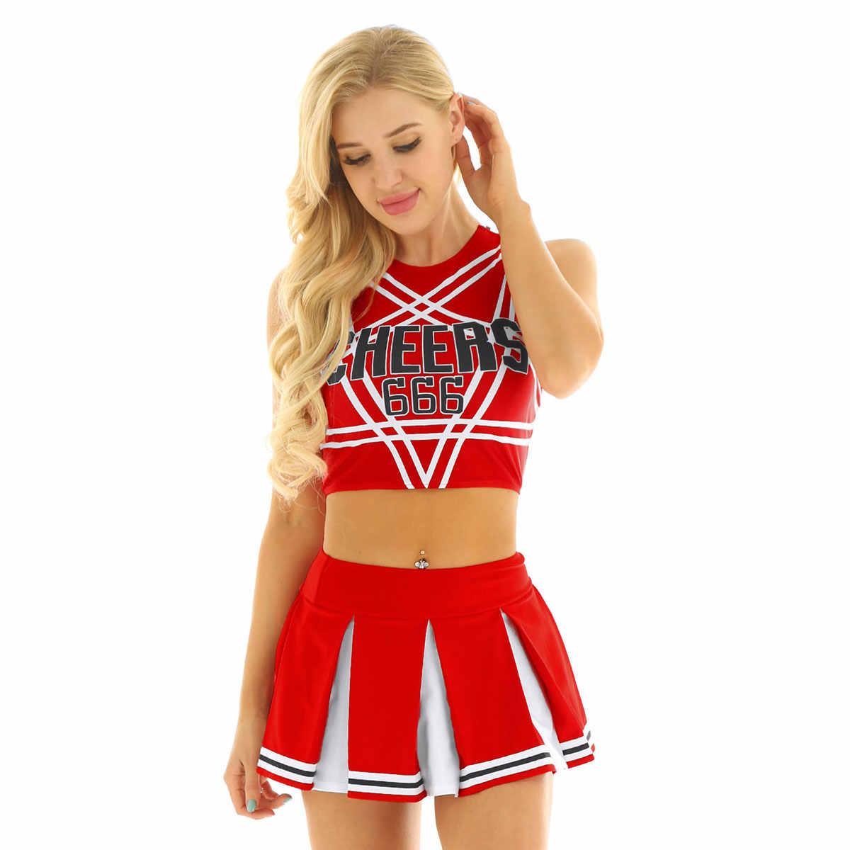 Frauen Charming Cheerleader Cosplay Kostüm Set Sleeveless Pentagramm Back Crop Top mit Mini Plissee Rock Jazz dance kostüme