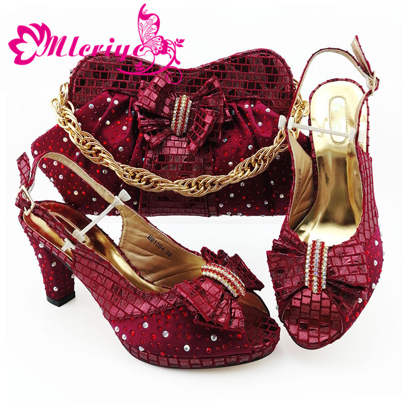 New Arrival African Wedding Shoes And Bag Set Wine Color Italian Shoes With Matching Bags Nigerian Women Party