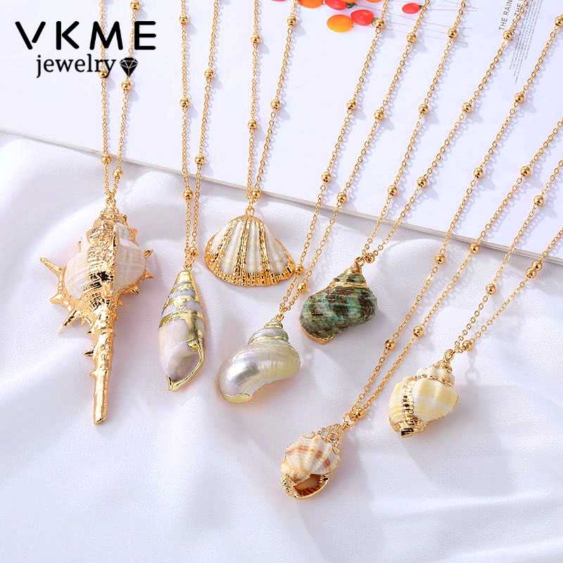 VKME 2019 Boho conch shell necklace beach shell pendant ladies necklace Colliers Femme Shell Cowrie summer bohemian jewelry