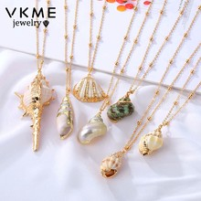 VKME 2019 Boho conch shell necklace beach shell pendant ladies necklace Colliers Femme Shell Cowrie summer bohemian jewelry(China)