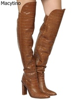 Brown Women Boots Snake Casual Thigh High Boots Red Over the Knee Boots Chunky High Heels Shoes Woman Sapatos