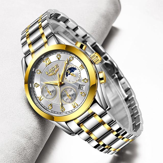 LIGE Fashion Women Watches Ladies Brand Luxury Stainless Steel Calendar Sport Quartz Watch Women Waterproof Watch Montre Femme 1