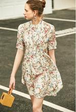 Vestido feminino 2019 verão novo solto de madeira orelha costura vestido de impressão de seda
