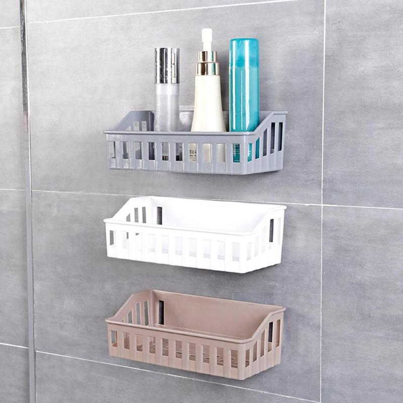 1PCS Bathroom Kitchen Storage Shelf Wall Mounted Toilet Shampoo Cosmetics Holder Home Bathroom Storage Accessories Three Colors