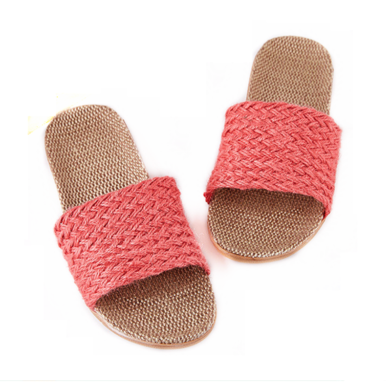 Open Toe Linen Couples Casual Breathable Slippers Home Hotel Indoor Flat Shoes