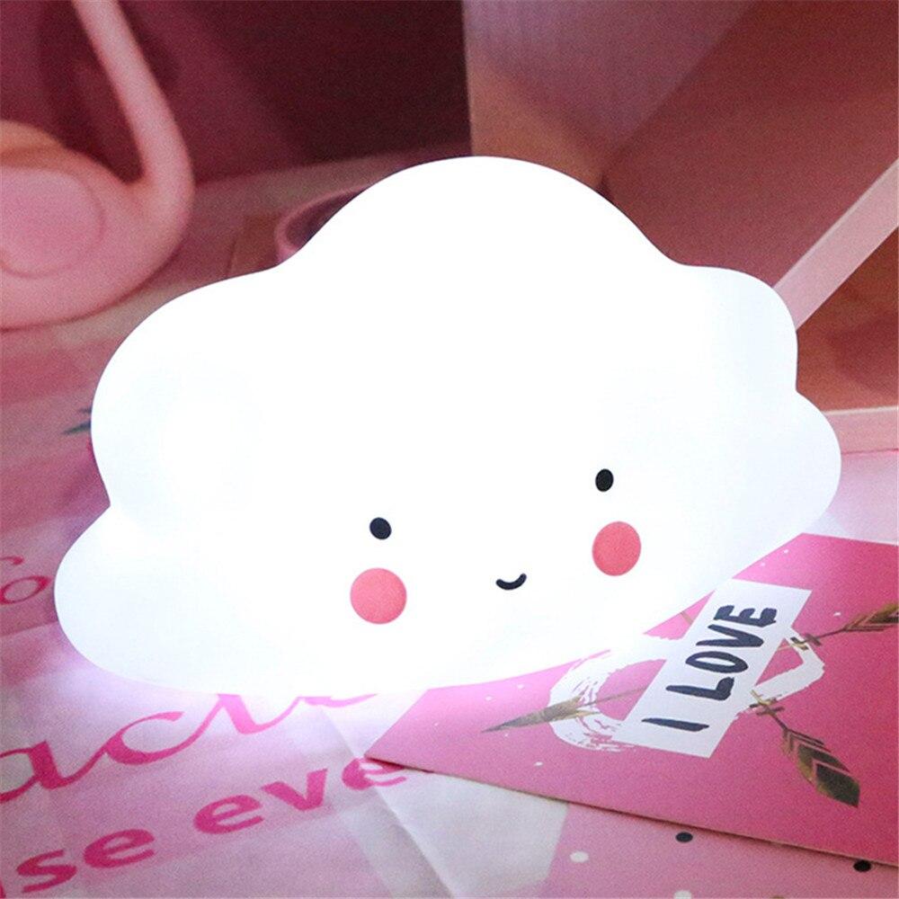 Cloud Vorm Knop Batterij Nachtlampje Kinderen Licht Babykamer Lamp Slaapkamer Slaap Voor Kinderen Meisje Speelgoed Kerstcadeau