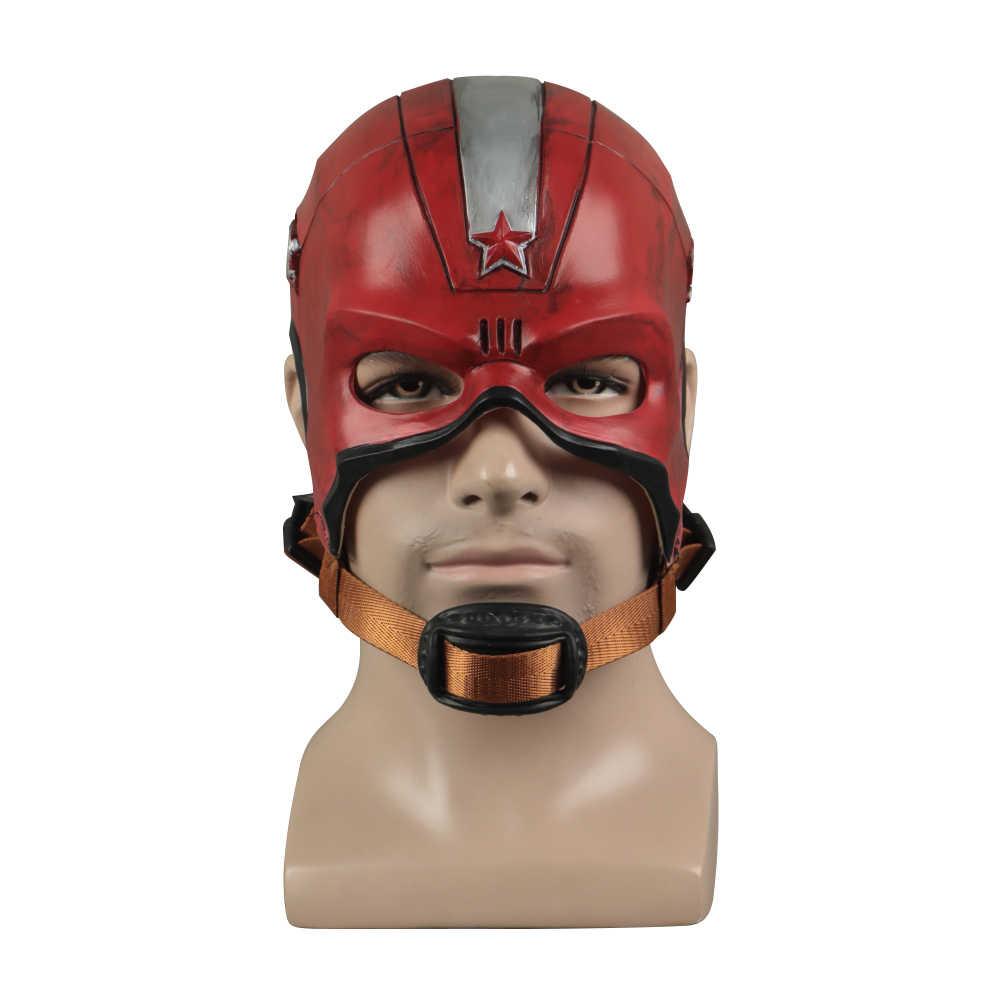 Cosplay Janda Hitam Merah Masker Pelindung Superhero Kapten Aleksey Helm Lateks Maska Pesta Halloween Prop