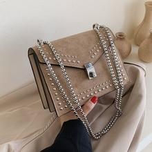 Retro Rivet Crossbody Bags for Women 2019 New High Quality PU Leather Ladies Designer Handbag Lock Chain Shoulder Messenger bag